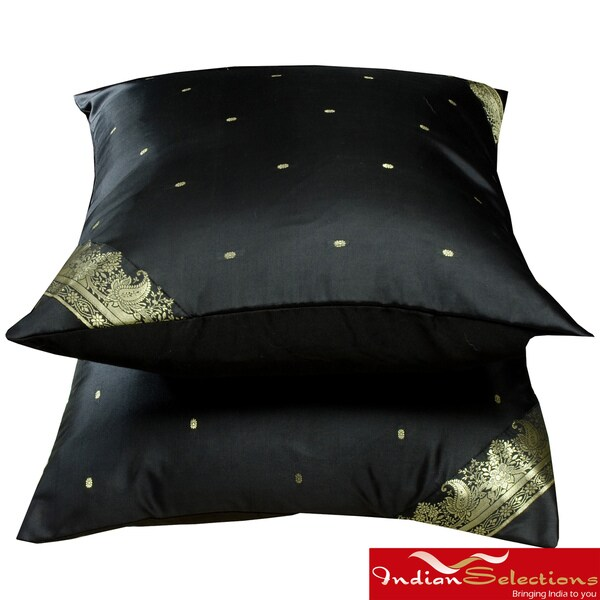 Set of Two Sari Fabric Decorative Black Pillow Covers (India)