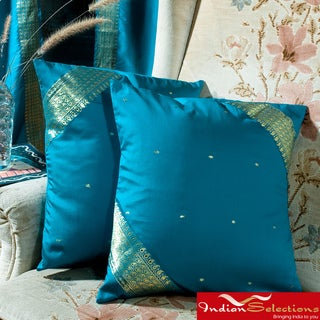Set of Two Sari Fabric Decorative Turquoise Pillow Covers (India)