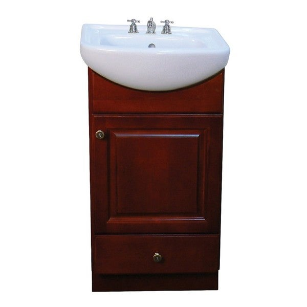 petite 18 inch wood dark cherry bathroom vanity 13704326 overstock