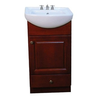 Petite 18-inch Dark Cherry/ White Bathroom Vanity