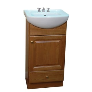 Petite 18-inch Oak/Biscuit Bathroom Vanity