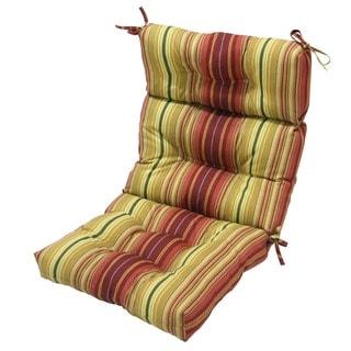 44x22-inch 3-section Outdoor Kinnabari Stripe High Back Chair Cushion