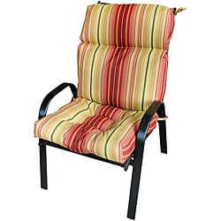 44x22-inch 3-section Outdoor Kinnabari Stripe High Back Chair Cushion