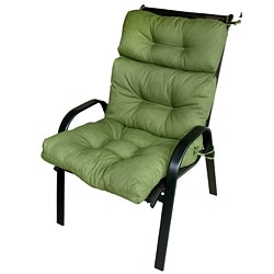 44x22-inch 3-section Outdoor Summerside Green High Back Chair Cushion