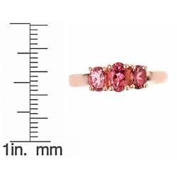 D?Yach Rose Gold over Sterling Silver 3-stone Pink Topaz Ring