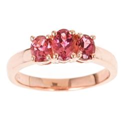 DYach Rose Gold over Sterling Silver 3-stone Pink Topaz Ring