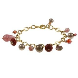 Charming Life Goldtone Coral and Bronze Pearl Fringe Bracelet (4-13 mm)