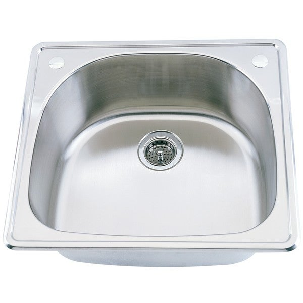 Somette D-shaped Top Mount Stainless Steel Single Sink