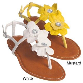 Journee Collection Women's 'Morning-17' Floral Accent Thong Sandals