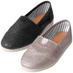 Journee Collection Girl's 'Object-2' Canvas Glitter Flats