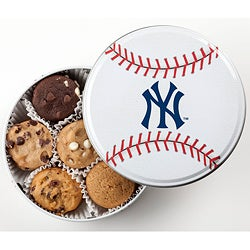 Mrs. Fields New York Yankees Baseball 18 Nibbler Cookies Tin