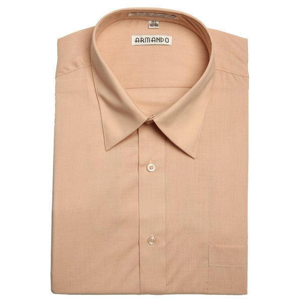 Armando Men's Peach Convertible Cuff Dress Shirt
