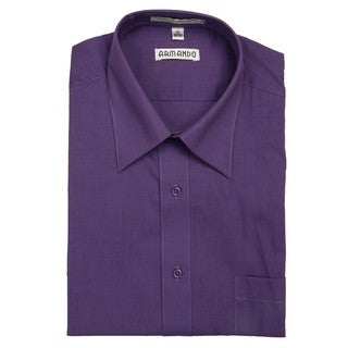 Armando Men's Purple Convertible Cuff Dress Shirt