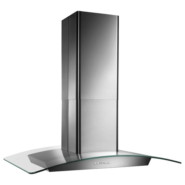 Broan 36-inch Stainless Contemporay European Glass Island Hood