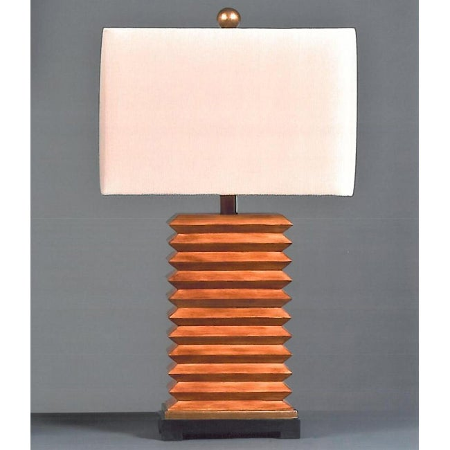 Folded Pecan Contemporary Tan Table Lamp