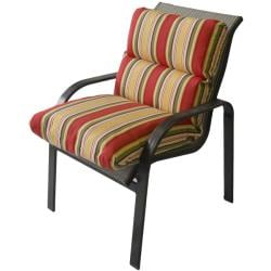 Ome Outdoor Club Chair Cushion in Striped Red Green Yellow Outdura Fabric