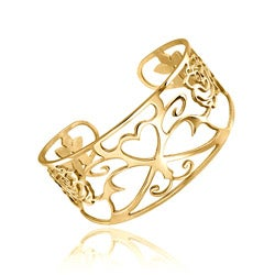 Mondevio 18k Gold over Stainless Steel Filigree Design Cuff Bracelet