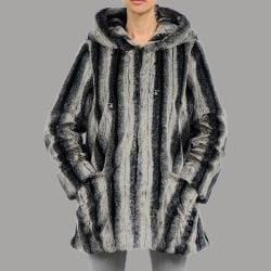 Nuage Womens Belize Faux Fur Hooded Short Coat