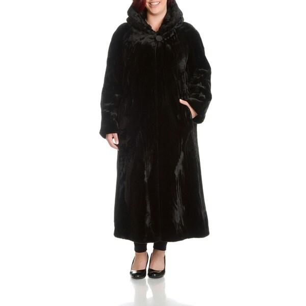 Nuage Womens Oversize Beaver Faux Fur Coat