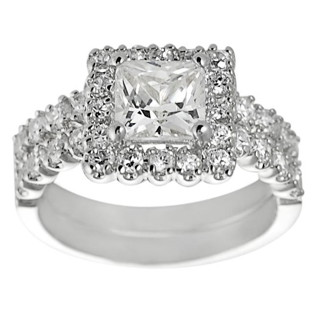 Journee Collection Silvertone Pave-set Princess-cut Cubic Zirconia Bridal-style Ring Set
