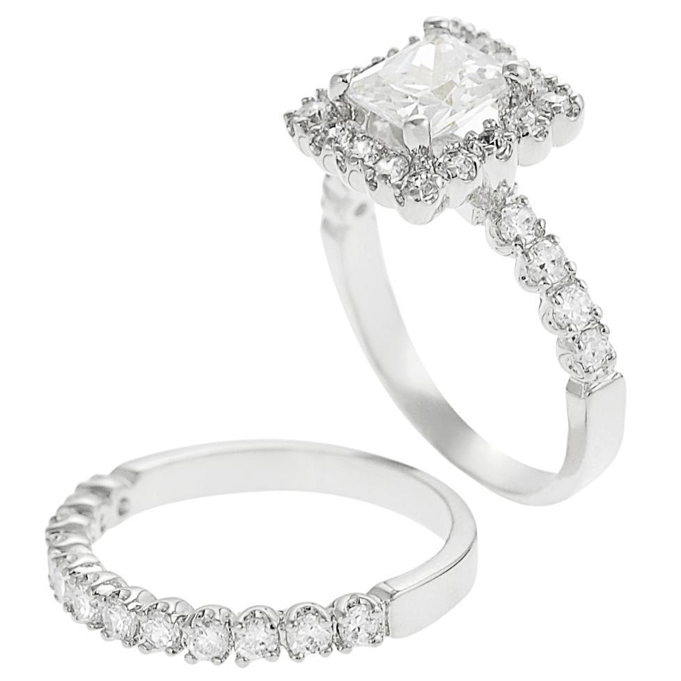 Silvertone Pave-set Princess-cut Cubic Zirconia Bridal-style Ring Set