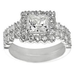 Silvertone Pave-set Princess-cut Cubic Zirconia Bridal-style Ring Set