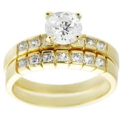Journee Collection Goldtone Pave-set Round-cut CZ Bridal-style Ring Set