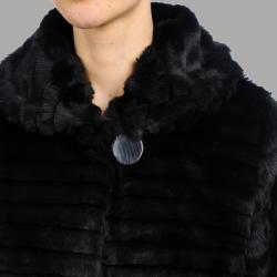 Nuage Women's 'Plsa' Black Faux Fur Short Coat