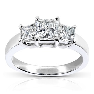Annello 14k White Gold 1 5/8ct TDW Certified Diamond Engagement Ring (H-I, SI2-I1)