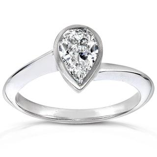 Annello 14k Gold Certified 1ct TDW Pear Cut Diamond (H-I, SI2-I1)