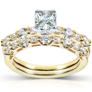 Annello 18k Gold 1 1/2ct TDW Certifed Diamond Bridal Ring Set (G-H, VS2)