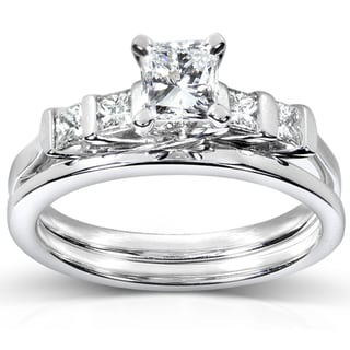 Annello 14k White Gold 1ct TDW Certifed Diamond Bridal Ring Set (D-E, SI1-SI2)