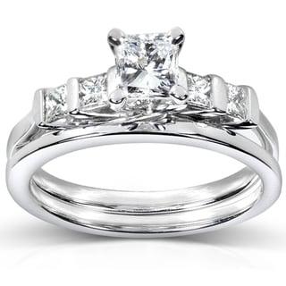 Annello 14k White Gold 1ct TDW Certifed Diamond Bridal Ring Set (D-E, SI1-SI2)