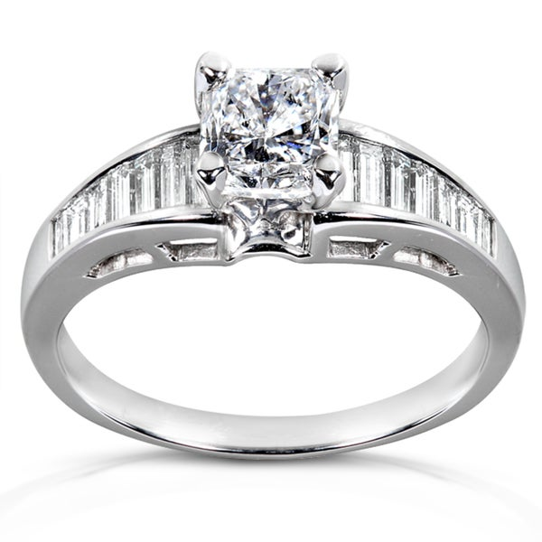 Annello 14k White Gold 1 3/8ct TDW Certified Diamond Engagement Ring (D-E, SI2-I1)