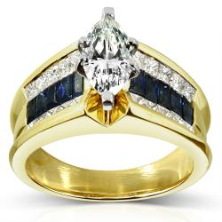 Annello 18k Gold 1 3/4ct TDW Diamond and Blue Sapphire Ring (I-J, SI1-SI2)