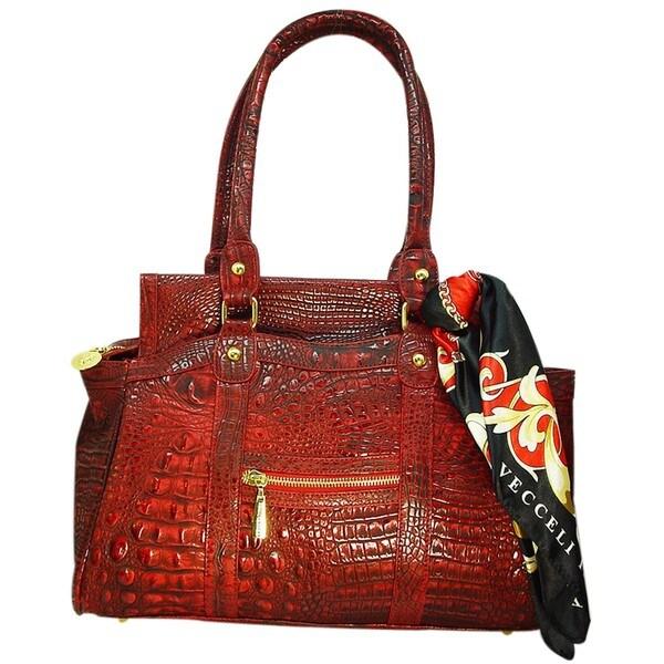 Vecceli Italy Red Alligator Embossed Shoulder Bag
