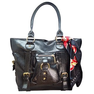 Vecceli Italy Crocodile Embossed Black Leather Bag