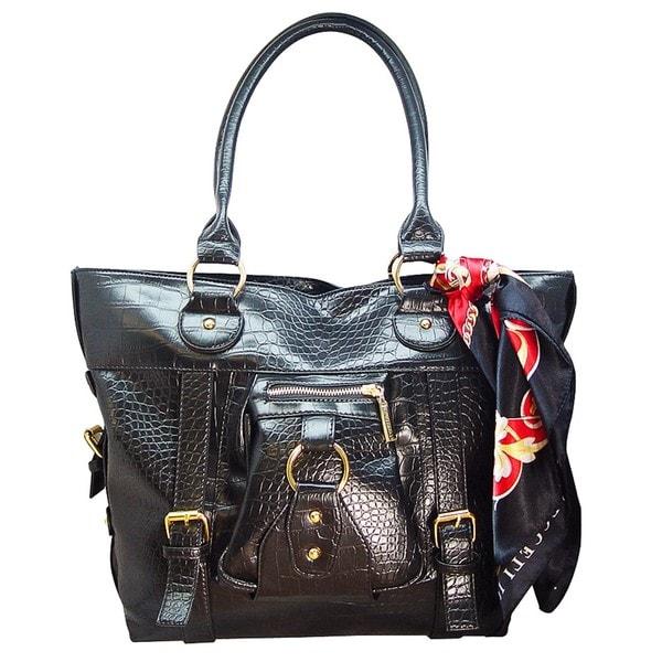 Vecceli Italy Crocodile Embossed Black Leather Bag