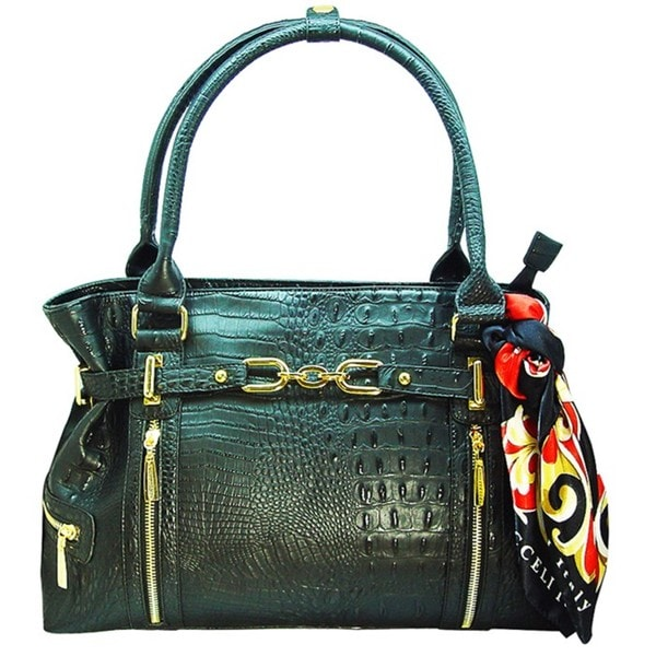 Vecceli Italy Alligator Embossed Black Handbag