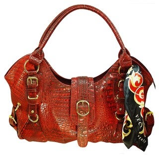 Vecceli Italy Alligator Embossed Red Shoulder Bag