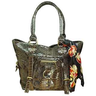 Vecceli Italy Snake Skin Embossed Shoulder Bag