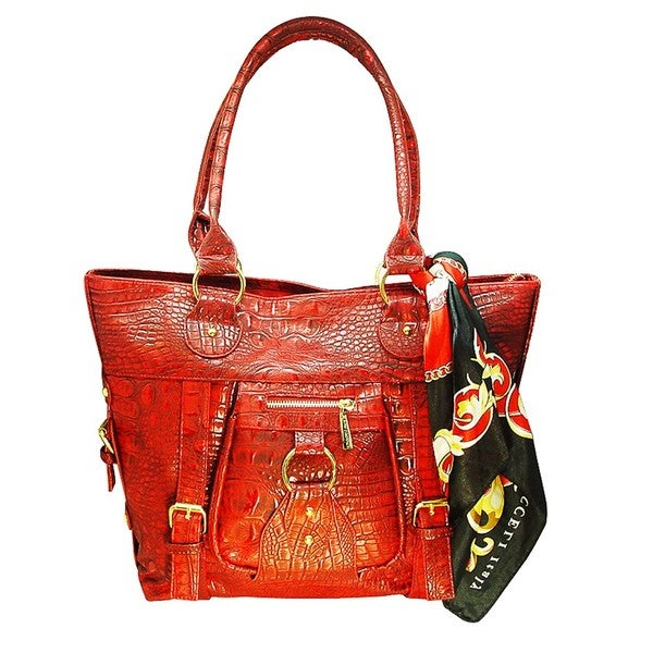 Vecceli Italy Alligator Embossed Red Tote Bag