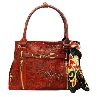 Vecceli Italy Alligator Embossed Red Handbag