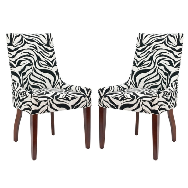 Safavieh En Vogue Dining Zebra Print Black and White Side Chairs (Set of 2)