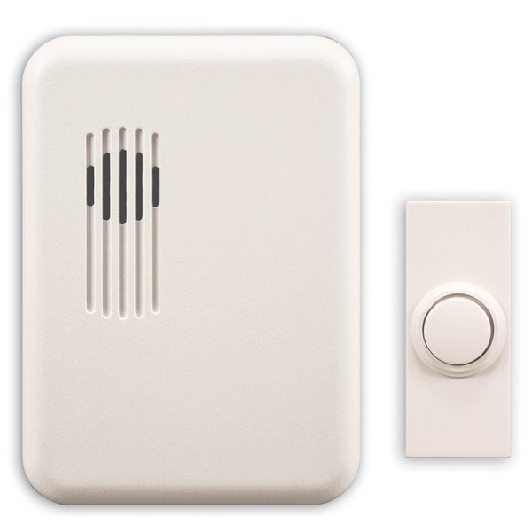 Heathco SL-6151-C White Wireless Rectangular Doorbell Chime Kit