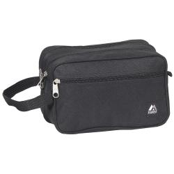 Everest 9.5-inch Black Dual Compartment Toiletry Bag