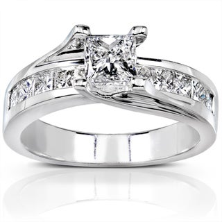 Annello 18k White Gold 1 1/2ct TDW Certified Diamond Engagement Ring (H-I, SI2)