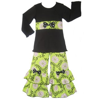 Ann Loren Girl's 'Flowering Vines' Top and Ruffled Pant Set