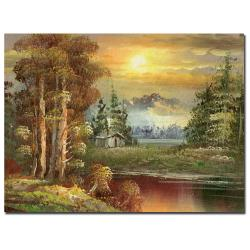 Rio 'Sunset in Yellowstone' Landscape Gallery-Wrapped Canvas Art