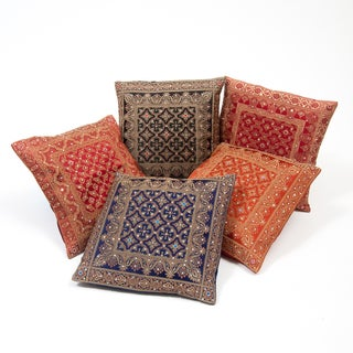 Five Cushion Covers with Brocade Weave and Sequins (India)